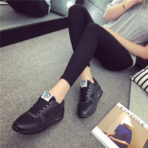 pa021 Low-cut flat heels air cushion sneaker,solid color,size 35-40,black  - $48.80