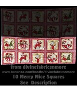 10 Squares, Merry Mice Very Rare Quilt Cotton F... - $31.48