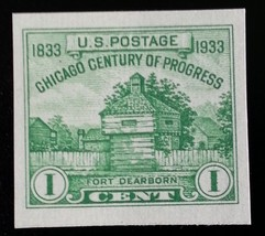 1933 1c Chicago, Imperforate Single Stamp issued without gum Scott 730a ... - $1.74