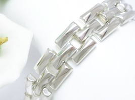"""Sterling Silver 7-1/4"""" Polished Stampato Link Bracelet, 19.2g - $65.00"""