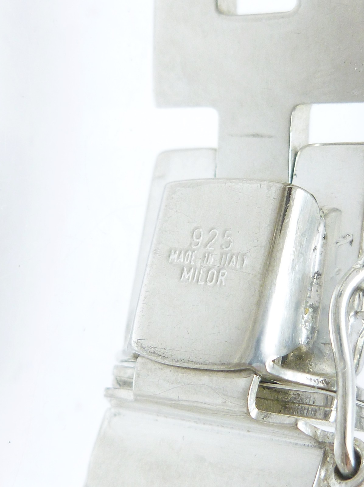 """Sterling Silver 7-1/4"""" Polished Stampato Link Bracelet, 19.2g"""