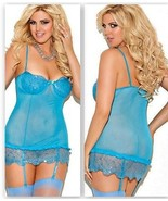 Blue Chemise adjustable Garters 2X Sequin Accents - $23.50