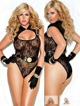 "Black Lace Teddy  O/S Queen 40-44"" D/DD Cut Out Neckline French Cut Legs 1X - $21.73"