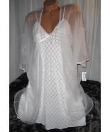 White Stretch Lace Chemise and Chiffon Robe Set... - $25.50