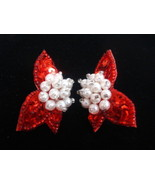 Holiday Red Sequin Pierced Earrings w/ White Pearls - $7.78