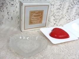 Avon Heart & Diamond  Crystal Dish Valentines  Soap Dish & Soap  5 oz. - $13.45
