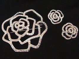 Avon Shimmering Silver Plated Flower Pin Brooch w/ Clip Earrings - $15.14