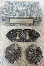 Avon Sterling Siver Textured Square Clipped Earrings & Brooch Vintage - $19.34