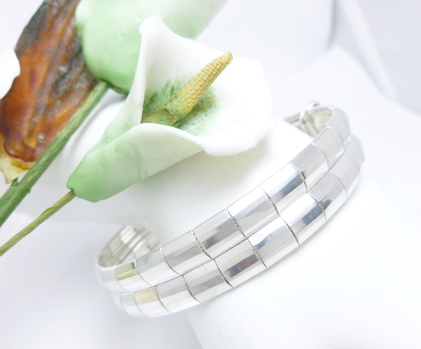 """Sterling Silver Double Row Banded Omega Bracelet 7.25"""""""