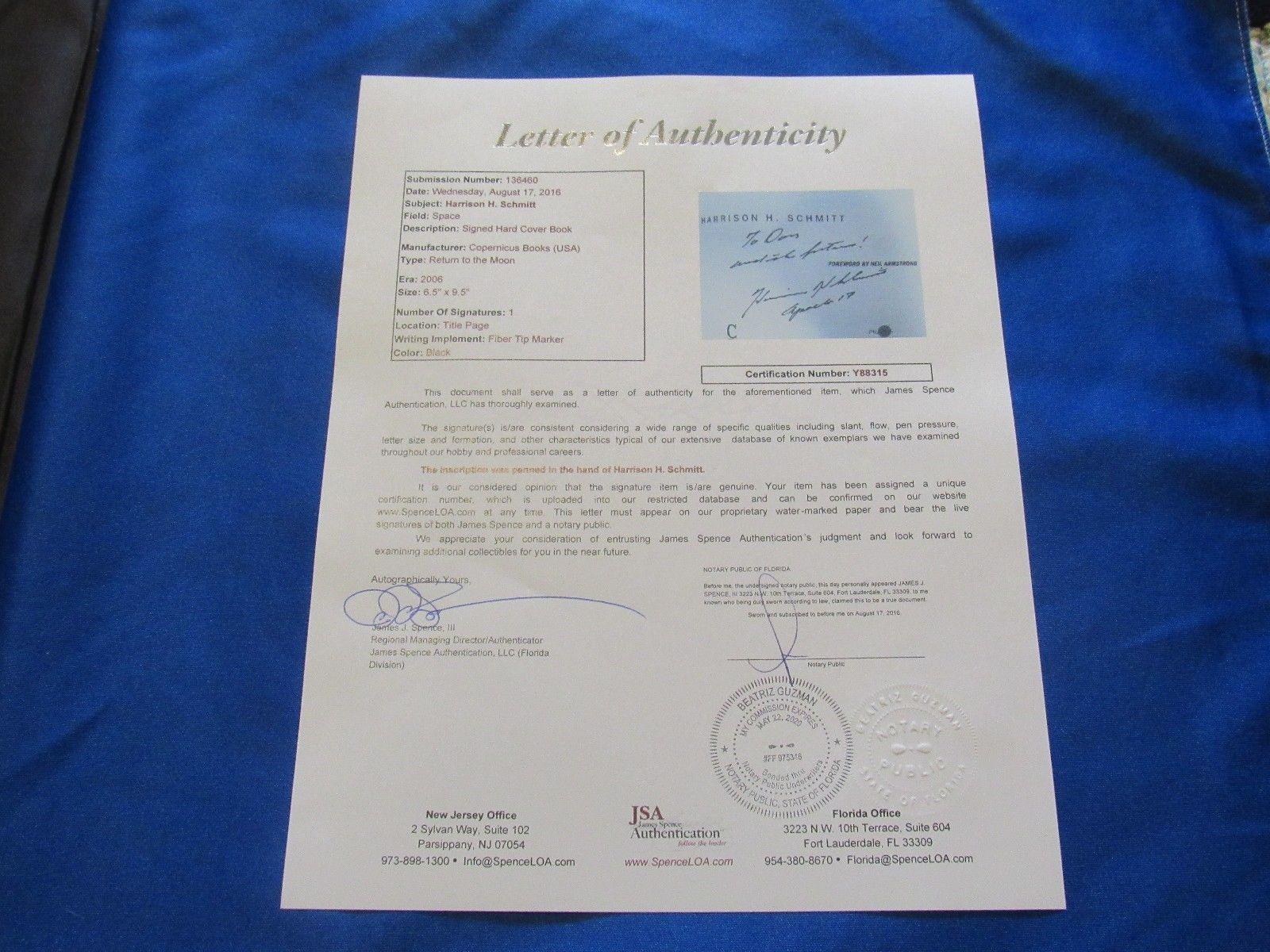 HARRISON SCHMITT APOLLO 17 ASTRONAUT SIGNED AUTO RETURN TO THE MOON BOOK JSA image 5