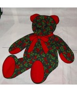 Christmas Cuddle Bear Fabric Panels Teddy Red Green Holiday  - $13.68