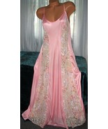 Coral Long Nightgown Floral Lace Panels 1X 2X 3... - $22.75
