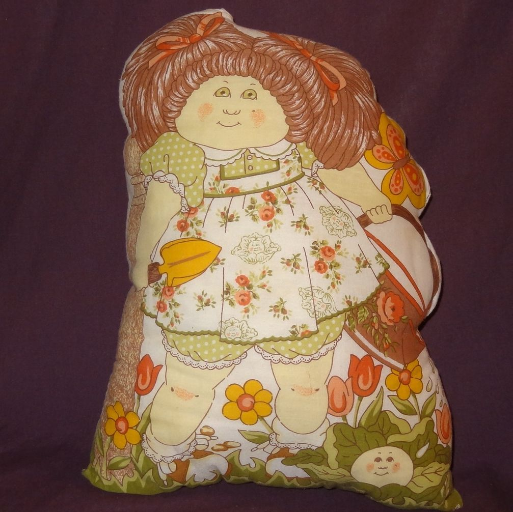 Primary image for Cabbage Patch Kids Girl Flower Basket Plush Stuffed Pillow Finished 1983 17""