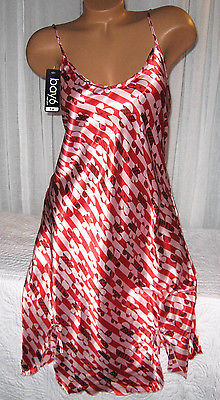 Red Pink Stripe Design Chemise Short Gown 1X 2X Plus Size Adjustable straps