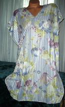 "Blue Floral Sleepshirt Oversized S M L Bust 50"" 52"" 54"" Silver Threads ... - $16.98"