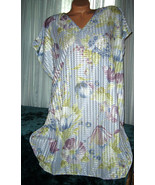"Blue Floral Sleepshirt Oversized S M L Bust 50"" 52"" 54"" Silver Threads ... - $16.98"