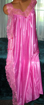 Rose Pink Toga Style Lace Open Tie Look Side Long Nightgown 1X Plus Size  - $22.75