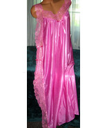 Rose Pink Toga Style Lace Open Tie Look Side Long Nightgown 1X 2X 3X Plu... - $22.75