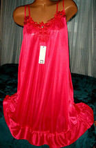 Red Semi Sheer Nightgown Slip Chemise 1X Silky Plus Size Short Gown - $16.99