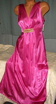 Long Nightgown Pink Magenta with Gold Accent 4X Grecian Plus Size - $25.00