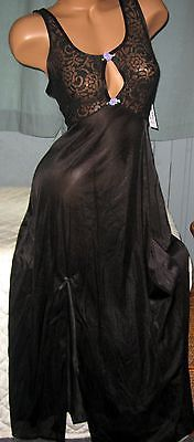Black Stretch Lace Bodice Long Nightgown S Sexy Slit Keyhole Nylon Gowns