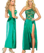 Emerald Green Long Nightgown Lace and Charmeuse... - $31.95