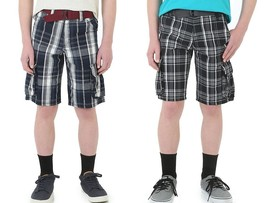 Wrangler Boys Navy or Black Plaid Cargo Shorts with Belt Sizes 4 10 12 14 NWT - $16.99