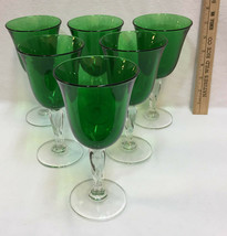 Wine Glasses Goblets Green Glass w/ Clear Twisted Stems Pedestals Set 6 ... - $56.38