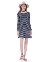 Classic Loose Black And White Striped T Shirt Dress With Long Sleeves - $46.00
