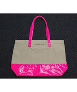 VICTORIA'S SECRET Large Tote Beach Duffel Bag Khaki Hot Pink Vinyl Canva... - $19.58