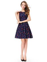 Womens Cherry Print Sleeveless Round Neck Fit And Flare Cocktail Dress - $55.00