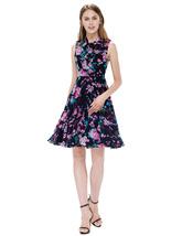 Black Garden Floral Print Sleeveless Georgette Short Summer Dress - $55.00