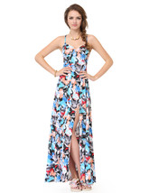 Colorful Spaghetti Strap Side Split Summer Dress With Criss Cross Back - $80.00