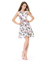 White Floral Print Jacquard Sleeveless A-Line Fit & Flare Skater Dress - $65.00