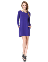 Women's Royal Blue Long Sleeve Crew Neck T Shirt Dress With Pocket - $36.00