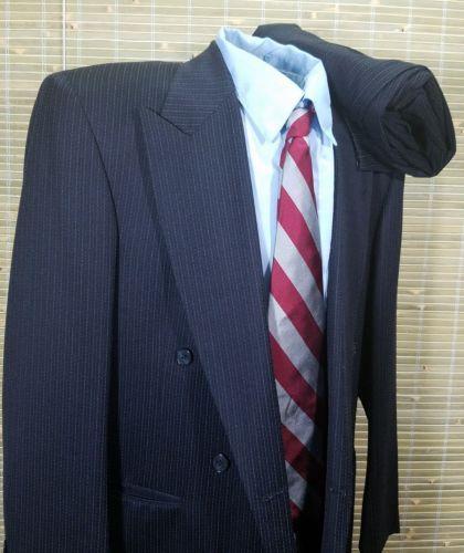 William Fioravanti New York Custom mens pinstripes DB suit 42R 32 X 31 Pleated