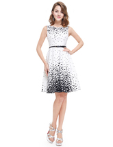 White Sleeveless Embellished Dress With Black Polka Dots For Juniors - $75.00