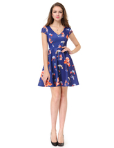 V-Neck Floral Print Fit And Flare Short Party Dress With Cap Sleeves - $55.00