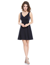 V-Neck Little Black Fit And Flare Casual Dress With Unique Back Design - $65.00