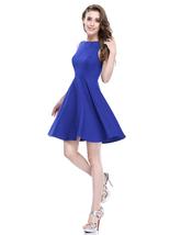 Royal Blue Short Sleeveless Scoop Neck Fit And Flare Skater Dress - $52.00