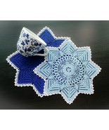 Blue Round Christmas Star Crochet Doilies With Silver Edging - $28.00