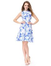 Blue And White Short Sleeveless High Neck Pattern Jacquard Skater Dress - $73.00