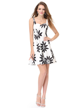 White And Black Floral Jacquard Casual Dresses For Juniors With Straps - $65.00