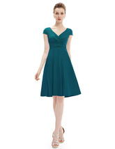Elegant Emerald Green V Neck Ruched Cap Sleeve Summer Casual Dress - $93.00