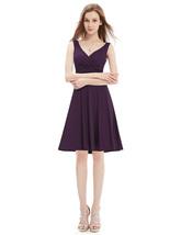 Stunning Grape V-Neck Sleeveless Knee Length Summer Cocktail Dresses - $93.00