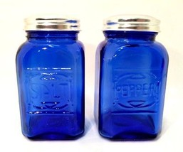 Cobalt Blue Salt & Pepper Shakers Retro Depress... - $24.74