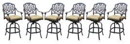 Bar set of 7 outdoor patio furniture cast aluminum 1 Elisabeth table 6 stools image 8