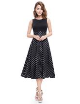 Vintage Black And White Polka Dot Sleeveless Fit And Flare Midi Dress - $55.00