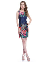 Short Sleeveless Floral Print Sheath Dress With Lace Embellished - $72.00