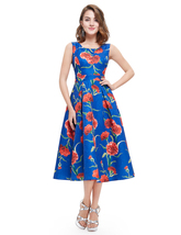 Blue Round Neck Sleeveless Floral Jacquard Fit And Flare Midi Dress - $55.00